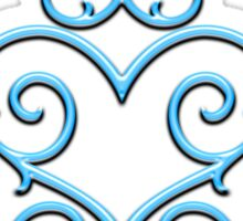 Blue Glow Victorian Tribal Heart Sticker