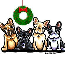 Frenchie Four Christmas Cards by offleashart
