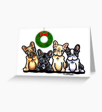 Frenchie Four Christmas Cards Greeting Card