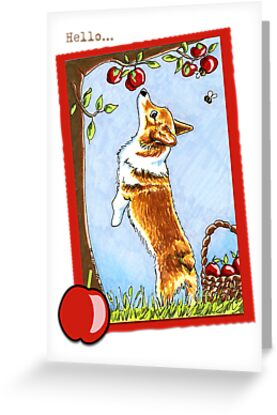 Corgi under the Apple Tree Saying Hello Cards by offleashart