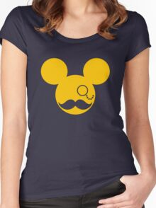 Moustache British Mickey Mouse Women's Fitted Scoop T-Shirt
