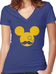 Moustache British Mickey Mouse Women's Fitted V-Neck T-Shirt