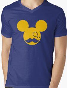 Moustache British Mickey Mouse Mens V-Neck T-Shirt