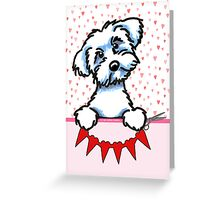 Maltese Valentines Day Paper Hearts Card Greeting Card