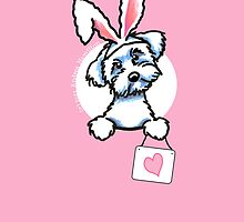 White Maltese Puppy Bunny Ears Pink Card by offleashart