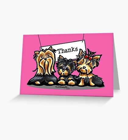 Yorkie Trio Pink Thank You Card Greeting Card