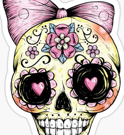 Yellow Sugar Skull Sticker