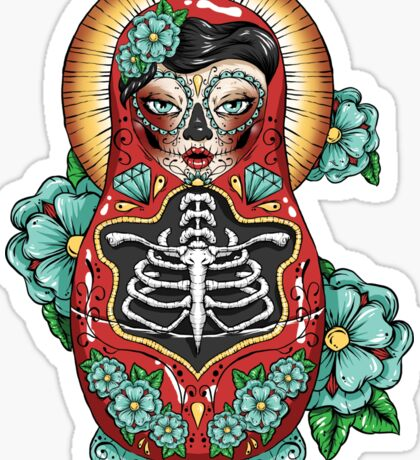 Day of the Dead Russian Doll Sticker