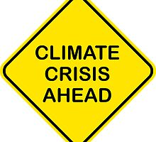 Climate Crisis Ahead Global Warming Warning Sign by Dan & Emma Monceaux