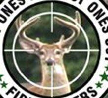 Firefighter Deer Hunting Sticker Sticker