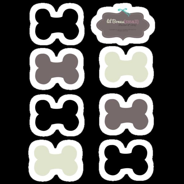 Lil Bones {Small} Shades of Gray Sticker Set by offleashart