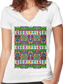 Grateful Dead Bears Trippy Pattern Women's Fitted V-Neck T-Shirt