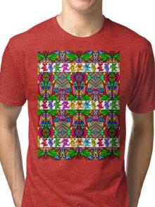Grateful Dead Bears Trippy Pattern Tri-blend T-Shirt