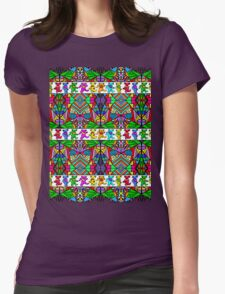 Grateful Dead Bears Trippy Pattern Womens Fitted T-Shirt