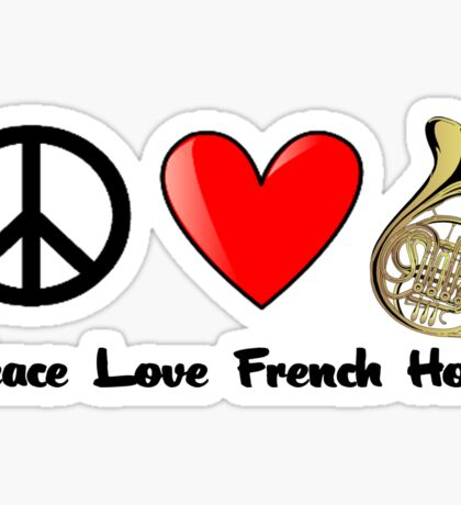 Peace, Love, and French Horn Sticker