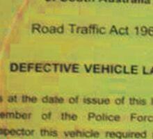 defective vehicle Sticker
