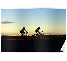 Bikers at sunset Poster