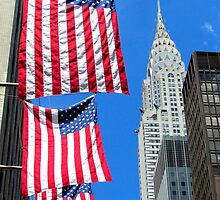 Stars and Stripes at Chrysler, New York City  by Alberto  DeJesus