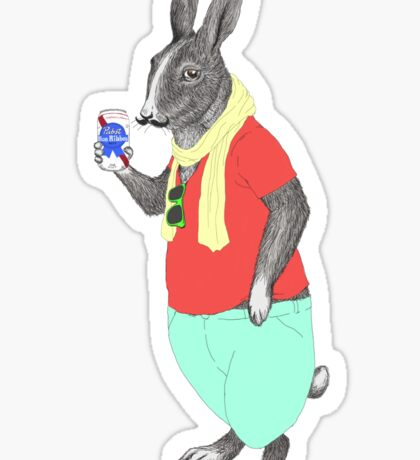 Hipster Easter Rabbit Sticker