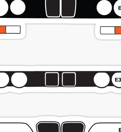 E28, E34, E39 simple headlight and grill design Sticker