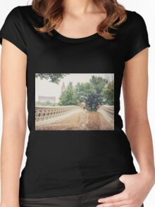 Rainy On Bow Bridge Women's Fitted Scoop T-Shirt