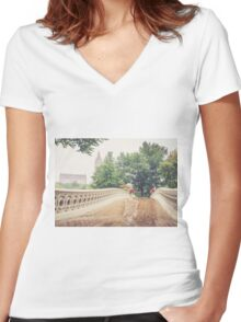Rainy On Bow Bridge Women's Fitted V-Neck T-Shirt