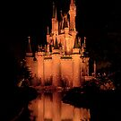 Cinderella&#x27;s Castle - Yellow w/reflection by Mark Fendrick