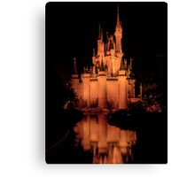 Cinderella's Castle - Yellow w/reflection Canvas Print
