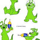 Spaceferret stickersheet 1 - Green by HenriekeG