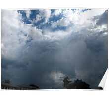 Raindrops knocking on clouds Poster