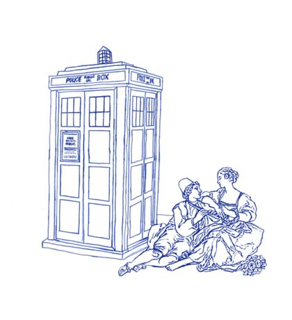 18th Century Couple and a Police Box Sticker