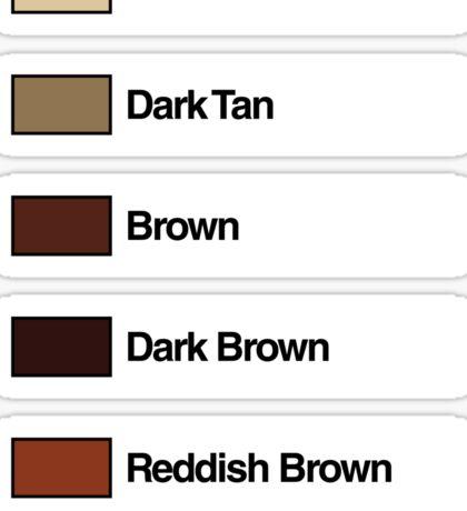 Brick Sorting Labels: Tan, Dark Tan, Brown, Dark Brown, Reddish Brown Sticker