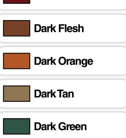 Brick Sorting Labels: Dark Red,  Dark Flesh,  Dark Orange,  Dark Tan,  Dark Green Sticker