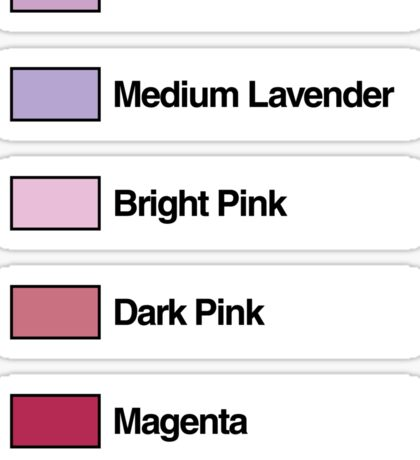 Brick Sorting Labels: Lavender, Medium Lavender, Bright Pink, Dark Pink, Magenta Sticker