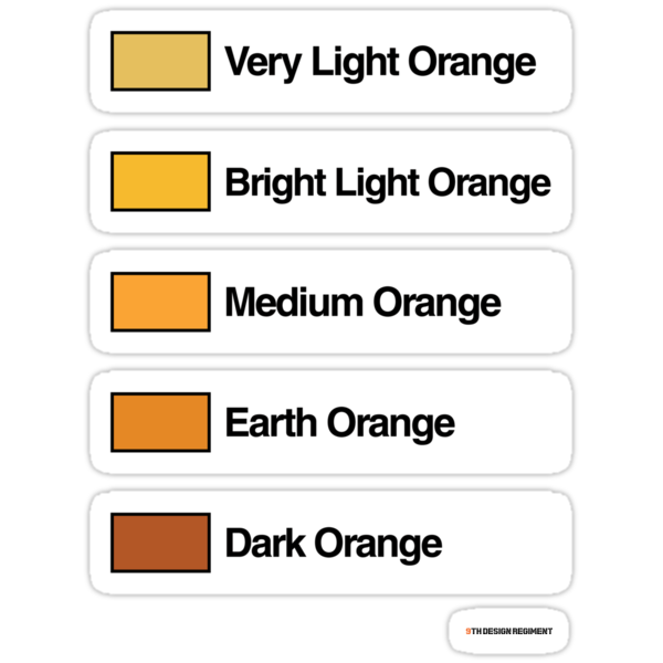 Brick Sorting Labels: Very Light Orange, Bright Light Orange, Medium Orange, Earth Orange, Dark Orange by 9thDesignRgmt