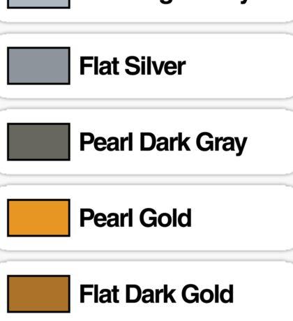 Brick Sorting Labels: Pearl Light Gray, Flat Silver, Pearl Dark Gray, Pearl Gold, Flat Dark Gold Sticker