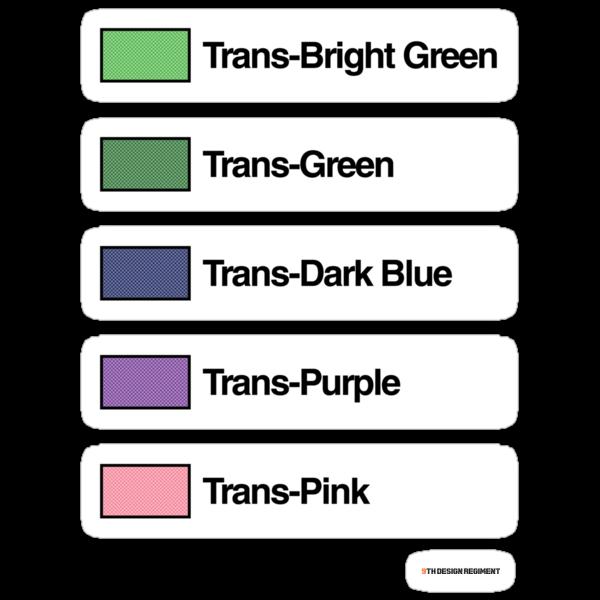Brick Sorting Labels: Trans-Bright Green, Trans-Green, Trans-Dark Blue, Trans-Purple, Trans-Pink by 9thDesignRgmt