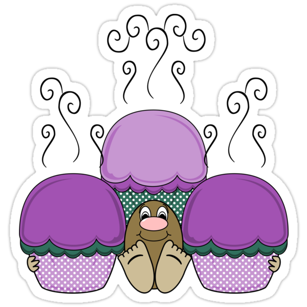 Cute Monster With Purple And Cyan Frosted Cupcakes by mydeas