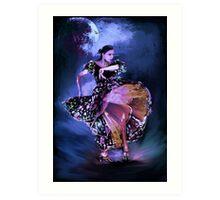 Flamenco in the moonlight Art Print