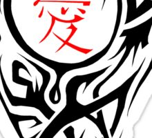 Black Tribal Heart with red love Kanji Sticker