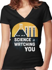 Science is Watching You Women's Fitted V-Neck T-Shirt