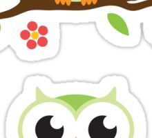 Cute green cartoon owl on floral branch stickers Sticker