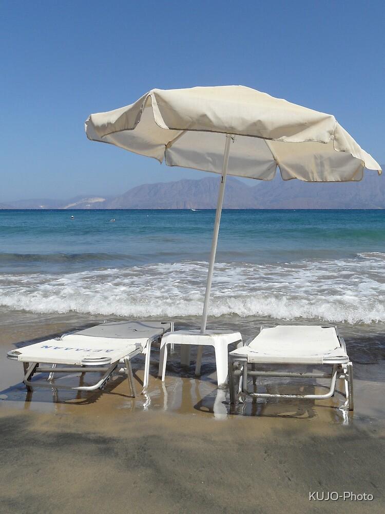 Sunloungers and Parasol, Crete by KUJO-Photo