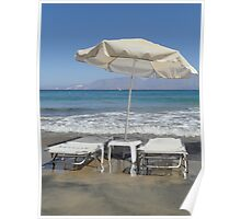 Sunloungers and Parasol, Crete Poster