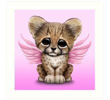 Cute Baby Cheetah Cub with Fairy Wings on Pink Art Print