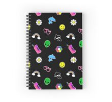 90s Sticker Style! Black Version Spiral Notebook