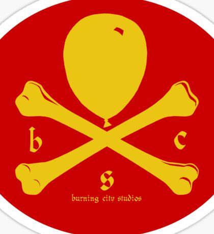 Balloon & Crossbones Sticker, Yellow on Red Sticker