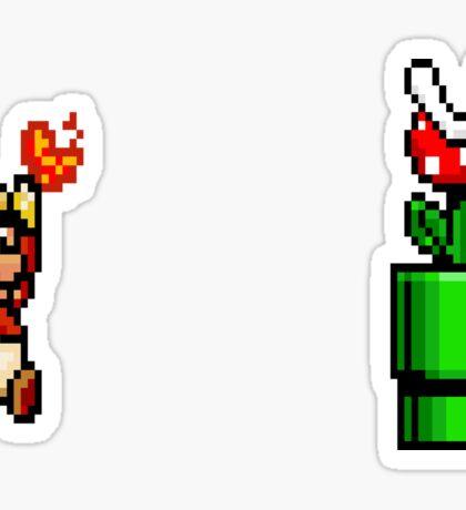 8 Bit Mario Vs Piranha Plant- Pixel Sticker