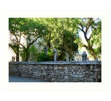 Mosque and Graveyard in Mostar Art Print