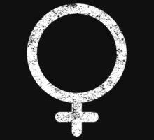 Distressed Feminist Symbol - White by feministshirts